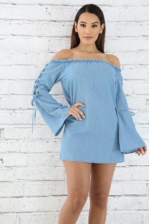 Lace-Up Sleeve Denim Dress