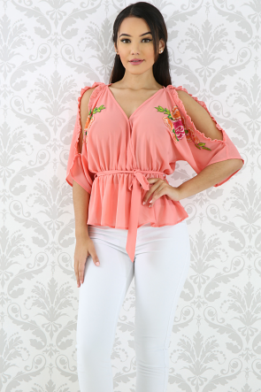 Embroidery Floral Sheer Top
