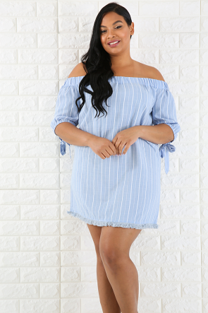 Striped Off The Shoulder Self Tie Mini Dress