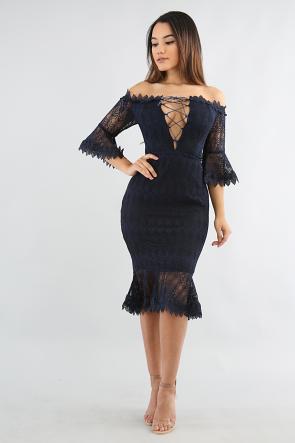 Leaf Crochet Off Shoulder Dress