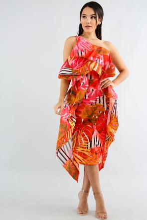 One Shoulder Swirl Dress