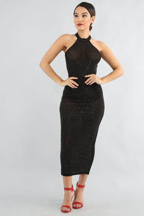 Rhinestone Sheer Body-Con Dress