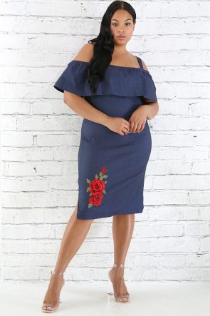 Denim Rose Embroidery Dress