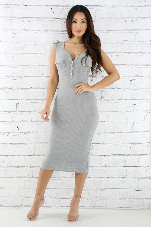Two Pocket Jersey Knit Body-Con Dress