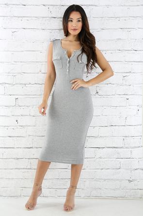 Two Pocket Jersey Knit Body-Con Dress