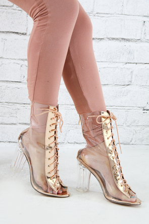 Transparent Lace-Up Chunky Perspex Heeled Ankle Boot