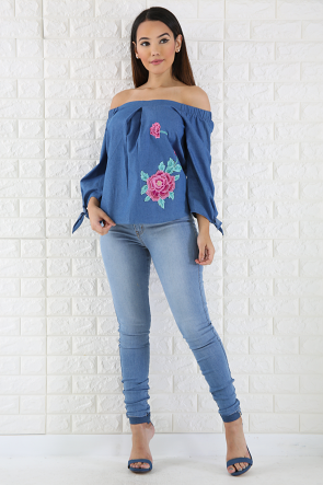 Off Shoulder Denim Floral Top