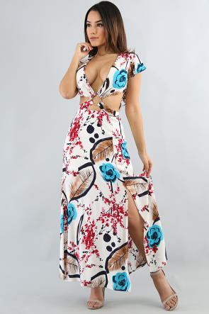 Keyhole Floral Maxi Dress