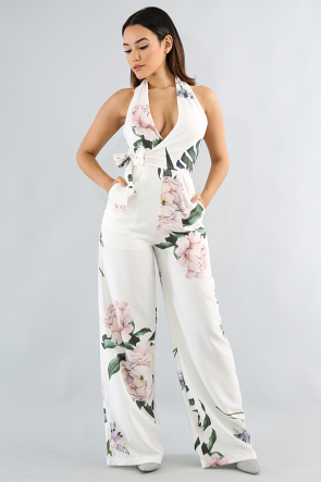 Sweetheart Floral Wide Jumpsuit