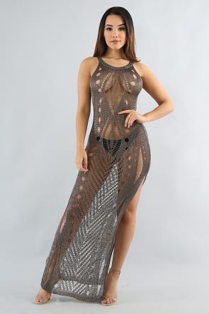 Metallic Distressed Dress