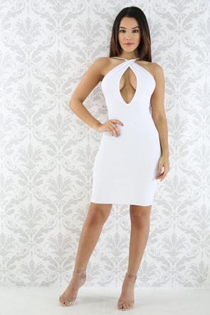 V-Neck Knit Body-con Dress