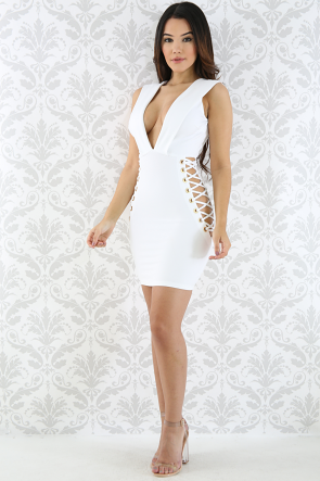 Plunging Lace Up Mini Dress