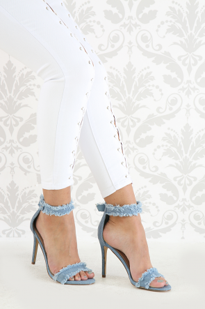 Distressed Denim Open Toe Ankle Strap Stiletto Heel
