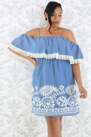 Denim Crochet Flare Dress