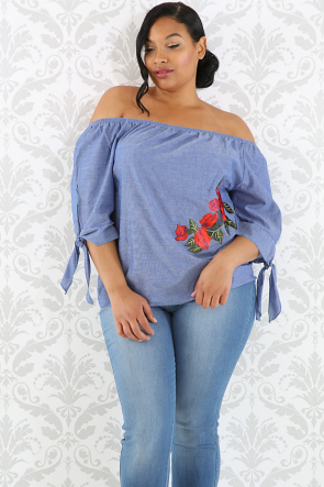 Floral Denim Tie Up Sleeve Top