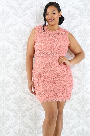 Lace Crochet Body-Con Dress