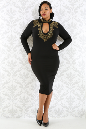 Choker Rhinestone Body-con Dress