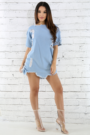 Denim Distressed Lace-Up Dress