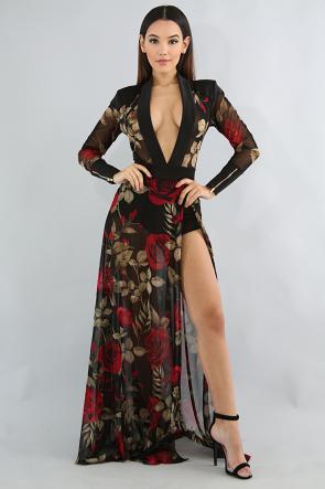 Roses Maxi Romper Dress
