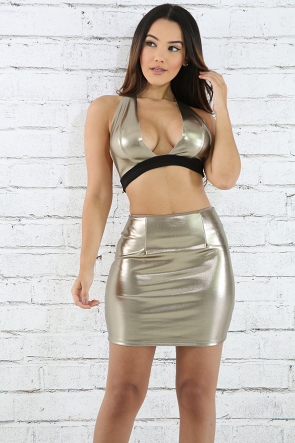 Metallic Shine Mini Skirt Set