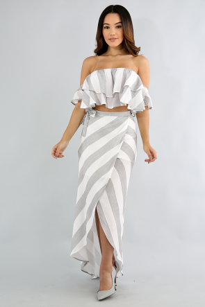 Flare Striped Long Skirt Set