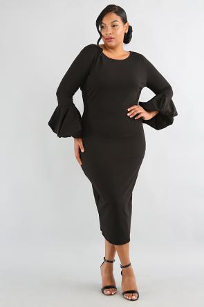 Puff Pom Sleeve Body-Con Dress