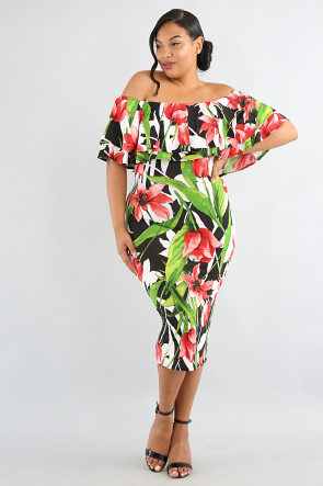 Doubled Flare Tulip Body-Con Dress