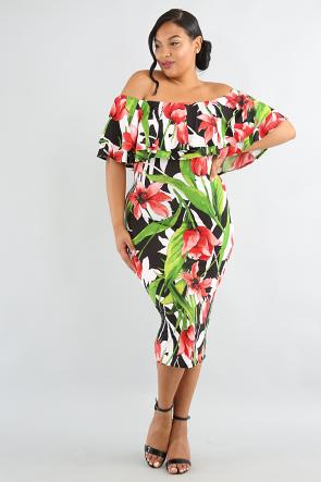 Doubled Flare Tulip Body-Con Dress