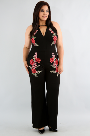 Embroidery Rose Jumpsuit