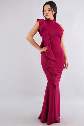 Ruffled Slide Mermaid Maxi Dress