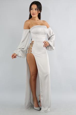 Eyelet Silk Maxi Dress