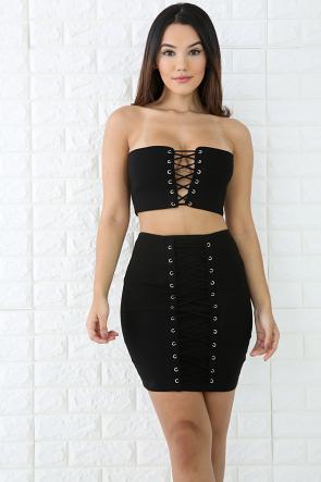 Lace Up Tube Skirt Set