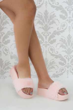 Open Toe Furry Slide Sandal