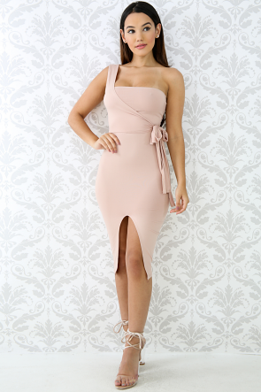 One Shoulder Tie Up Body-con Dress