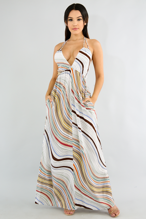 Summer Striped Maxi Dress