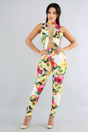 Sweet Floral Lace Up Corset Jumpsuit