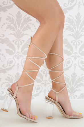 Velvet Lace-Up Open Toe Clear Lucite Chunky Heel