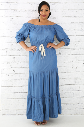 Flare Off Shoulder Denim Maxi Dress