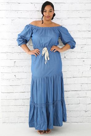 Flare Off Shoulder Denim Maxi Dress