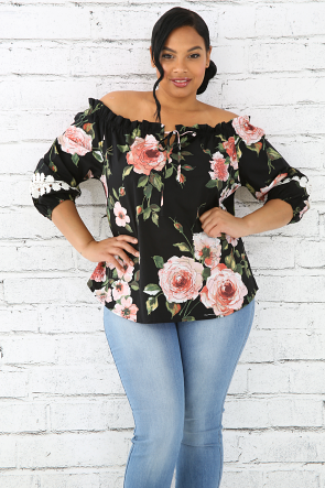 Floral Blossom Crochet Sleeve Top