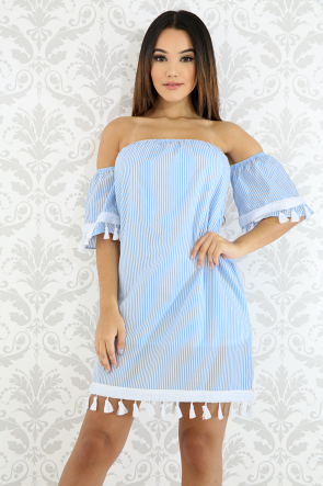 Tassel Striped Denim Dress