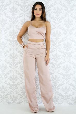 Silky Satin Pants Set