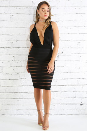 Striped Sheer Body-Con Dress