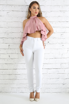 Mock Neck Flare Top