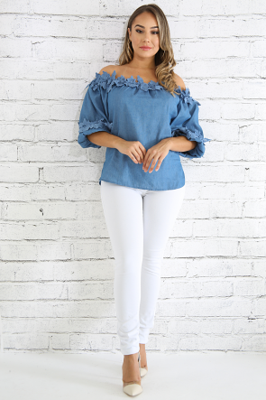 Puffy Embroidered Denim Top