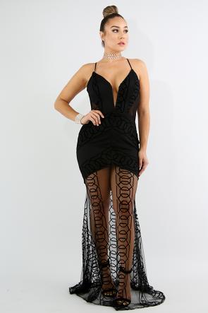 Geometrical Sheer Lace Mermaid  Dress