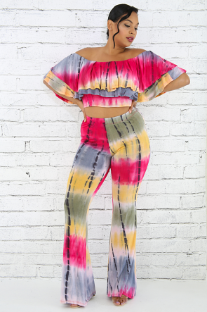 Double Ruffle Tie Dye Pant Set