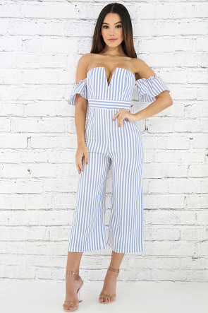 Off Shoulder Pinstripe Jumper