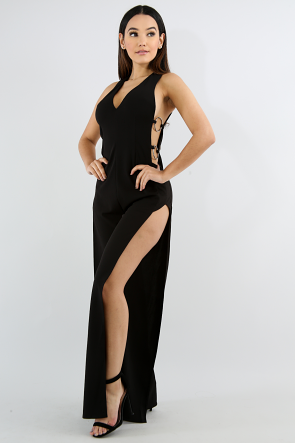 Yoke Ring High Slit Jumpsuit