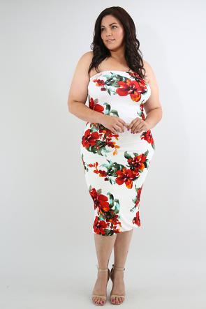 Strapless Floral Tube Midi Dress